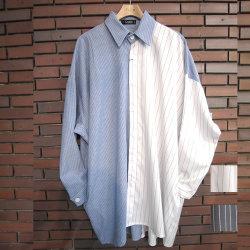 【新着】再入荷Cuirs(キュイー)メンズシャツ オリジナルストライプ柄切り替えオーバーシャツアウター新作デザイン