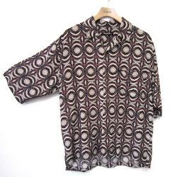 【セール】【新着】Cuirs(キュイー)メンズシャツ 総柄プリント半袖さらさらシャツ 新作デザイン