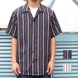 Cuirs(キュイー)メンズシャツ オリジナルストライプ半袖シャツ新作デザイン