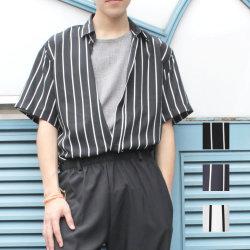 【セール】Cuirs(キュイー)メンズシャツ オリジナルストライプ柄半袖シャツ新作デザイン