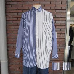 【新着】Cuirs(キュイー)メンズシャツ オリジナルストライプ柄切り替えクレージーオーバーサイズシャツ新作デザイン