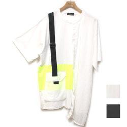 【新着】Cuirs(キュイー)メンズTシャツ オリジナル蛍光配色ショルダーベルトポケットデザインTシャツ新作デザイン