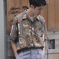 【新着】Cuirs(キュイー)メンズシャツ オリジナルレトロ調総柄プリントさらさらオープンシャツ新作デザイン