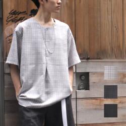 【新着】Cuirs(キュイー)メンズシャツ オリジナルヘンリーネックプルオーバーシャツ新作デザイン