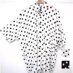【新着】Cuirs(キュイー)メンズシャツ オリジナルドット柄5分袖BIGサイズシャツアウター新作デザイン
