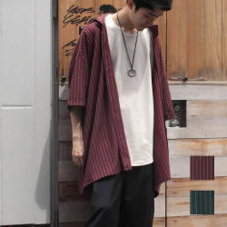 【新着】Cuirs(キュイー)メンズシャツ オリジナルピンストライプ柄サラサラ5分袖オーバーシャツアウター新作デザイン