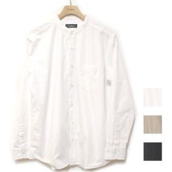 【新着】Cuirs(キュイー)メンズシャツ オリジナルバンドカラーブロードロングシャツ新作デザイン