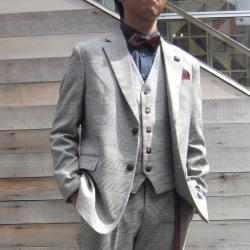 【新着】Cuirs(キュイー)メンズジャケット グレンチェックスリーピースジャケット 新作デザイン