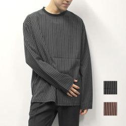 【新着】Cuirs(キュイー)メンズTシャツ オリジナルペンシルストライプロングTシャツ新作デザイン