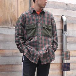 【新着】Cuirs(キュイー)メンズシャツ オリジナルタータンチェック切り替えシャツ新作デザイン