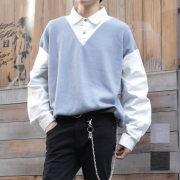 【新着】Cuirs(キュイー)メンズシャツ オリジナルニット切り替えレイヤードシャツ新作デザイン
