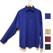 【再入荷】Cuirs(キュイー)メンズシャツ 【新色ロイヤルブルー入荷】オリジナルドルマンスリーブさらさら無地シャツ新作デザイン