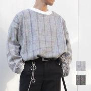 【新着】Cuirs(キュイー)メンズニット オリジナルヘリンボンチェック布帛オーバーサイズニット新作デザイン