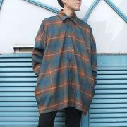 【再入荷】Cuirs(キュイー)メンズシャツ オリジナルウールチェック柄BIGアウターシャツ新作デザイン