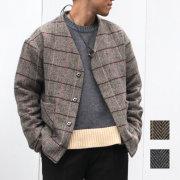 【新着】Cuirs(キュイー)メンズジャケット オリジナルツイードヘリンボン柄ノーカラーショート丈ジャケット新作デザイン