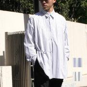 【新着】Cuirs(キュイー)メンズシャツ オリジナルストライプスピンドルロングシャツ作デザイン