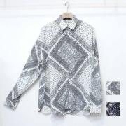【新着】Cuirs(キュイー)メンズシャツ オリジナルペーズリープリントさらさらビックシャツ新作デザイン