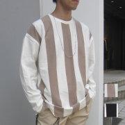 【新着】Cuirs(キュイー)メンズTシャツ オリジナルロンドンストライプ切り替えTシャツ新作デザイン