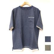 【セール】Cuirs(キュイー)メンズTシャツ オリジナルレイヤード風さらさらフアクTシャツ新作デザイン