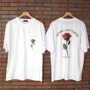 【セール】【再入荷】Cuirs(キュイー)メンズTシャツ オリジナルローズプリントTシャツ新作デザイン