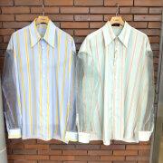 【新着】Cuirs(キュイー)メンズシャツ オーガンジー切り替えストライプシャツ 新作デザイン