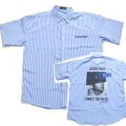 【再入荷】Cuirs(キュイー)メンズシャツ オリジナルバックプリントさらさらストライプシャツ新作デザイン