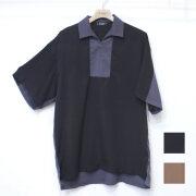 【新着】Cuirs(キュイー)メンズシャツ オリジナルハーフZIPさらさら切り替えシャツ新作デザイン