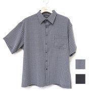 【セール】Cuirs(キュイー)メンズシャツ オリジナルポーラ編みチェックショートシャツ新作デザイン
