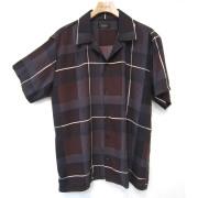 【新着】Cuirs(キュイー)メンズシャツ オリジナルタックチェックさらさらオープンシャツ新作デザイン