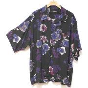 【新着】Cuirs(キュイー)メンズシャツ オリジナルフラワープリントサラサラオープンシャツ新作デザイン