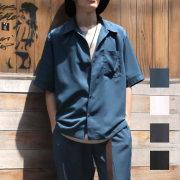 【新着】Cuirs(キュイー)メンズシャツ オリジナルセットアップさらさら無地オープンシャツ新作デザイン