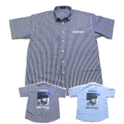 【セール】【新色ネービー入荷】Cuirs(キュイー)メンズシャツ オリジナルバックプリントさらさらストライプシャツ新作デザイン
