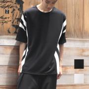 【セール】Cuirs(キュイー)メンズTシャツ オリジナルストライプ切り替えTシャツ新作デザイン