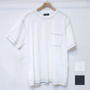 【セール】Cuirs(キュイー)メンズTシャツ オリジナルクルーネックステッチポケット付きTシャツ新作デザイン