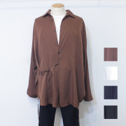 【新着】Cuirs(キュイー)メンズシャツ オリジナルドローコードさらさらロングスリーブシャツ新作デザイン