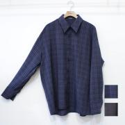 【新着】Cuirs(キュイー)メンズシャツ オリジナルさらさらダークチェックビックサイズ柄シャツ新作デザイン