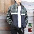 【セール】Cuirs(キュイー)メンズジャケット チェック切り替えビックシルエットトラックジャケット新作デザイン