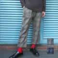 【セール】Cuirs(キュイー)メンズスラック オリジナル裾ダブルチェック柄9分丈テーパードパンツ新作デザイン