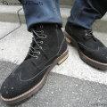 【FINEBOYS10月号SamuraiELO1月号Streetjack1月号雑誌掲載】【新着】Cuirs(キュイー)メンズブーツ スエードウイングチップスニーカーブーツ