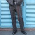 【セール】Cuirs(キュイー)メンズスラックス オリジナルセットアップウールウインドウペンテーパードパンツ新作デザイン