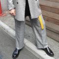 【新着】Cuirs(キュイー)メンズスラックス オリジナルセットアップグレンチェックワイドパンツ 新作デザイン