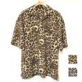 Cuirs(キュイー)メンズシャツ オリジナルレオパードプリントダブルポケットオープンシャツ新作デザイン
