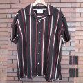 【新着】Cuirs(キュイー)メンズシャツ マルチストライプ総柄プリントオープンシャツ 新作デザイン