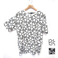 【新着】Cuirs(キュイー)メンズTシャツ 幾何学総柄半袖プリントTシャツ 新作デザイン