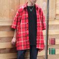 【おしゃれヘアカタログ雑誌掲載】【新着】Cuirs(キュイー)メンズシャツ オリジナルチェック柄オーバーサイズシャツ 新作デザイン