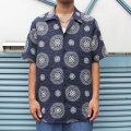 【新着】Cuirs(キュイー)メンズシャツ オリジナル総柄プリント半袖開衿オープンシャツ新作デザイン