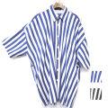 Cuirs(キュイー)メンズシャツ オリジナルロンドンストライプビックシャツアウター新作デザイン