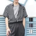 【セール】【SamuraiELO11月号9月号8月号雑誌掲載】【新着】Cuirs(キュイー)メンズシャツ オリジナルストライプ柄半袖シャツ新作デザイン