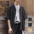 【セール】Cuirs(キュイー)メンズシャツ オリジナル綿麻セットアップ開衿シャツ新作デザイン