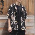 【新着】Cuirs(キュイー)メンズシャツ オリジナルフェザー総柄プリントさらさらオープンシャツ新作デザイン